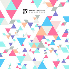 Abstract modern colorful triangles pattern elements on white background with copy space.