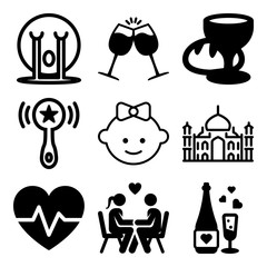 Vector icon set  about love with 9 icons related to smiley, background, object, humor and card