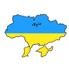 Map Ukraine. Vector illustration. Flag color icon.