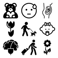Vector icon set  about love with 9 icons related to tulip, teddybear, decoration, holding and face