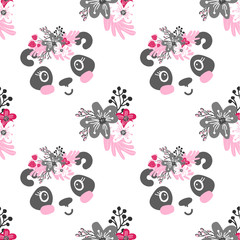 Seamless pattern with cartoon panda  girl with floral wreath and flowers. Cute kids background.