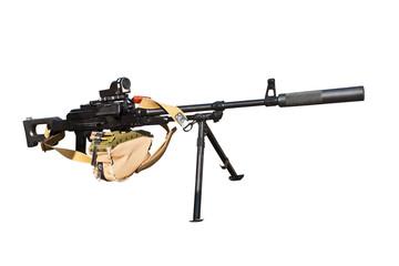 modern machine gun isolated on white background