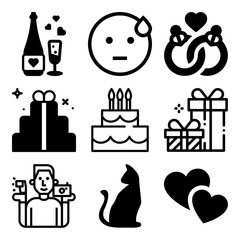 Vector icon set  about love with 9 icons related to elegant, space, europe, shape and hair