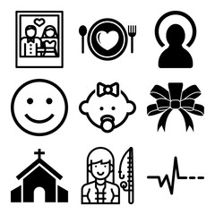 Vector icon set  about love with 9 icons related to light, greeting, girl, smiley and praying