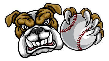Bulldog Dog Holding Baseball Ball Sports Mascot