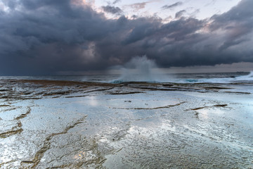Stormy Rock Shelf Seascape