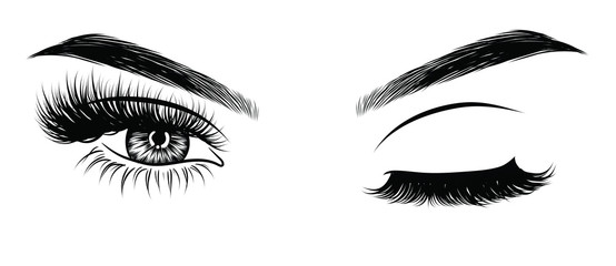 Obraz Sexy winking luxurious eye with perfectly shaped eyebrows and full lashes. Idea for business visit card, typography vector. Perfect salon look. - fototapety do salonu