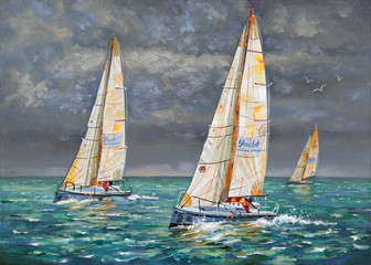 Regatta. Yachts coming to the finish. Oil painting on canvas. Author: Nikolay Sivenkov.