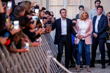 French President  Emmanuel Macron and his wife Brigitte Macron the 'Fete de la Musique', the music day celebration, in the courtyard of the Elysee Palace, in Paris