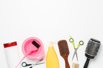 Picture of objects for hairdresser, hair dryer, comb, scissors isolated on white background.