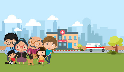 Happy family outdoor modern flat style with healthcare. People health concept vector illustration.