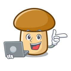 With laptop porcini mushroom character cartoon