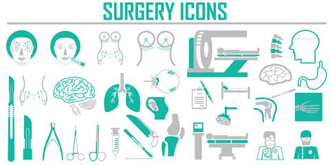 surgery  plastic vector icon set.