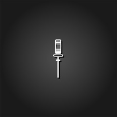 Sound recording equipment icon flat. Simple White pictogram on black background with shadow. Vector illustration symbol