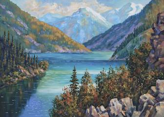 An oil painting on canvas. Kolsai Lake, Kazakhstan. Author: Nikolay Sivenkov.