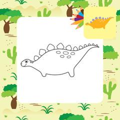 Cute cartoon Dino coloring book