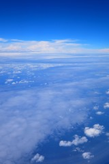 Beautiful blue sky and white cloud view from the plane in Japan Okinawa