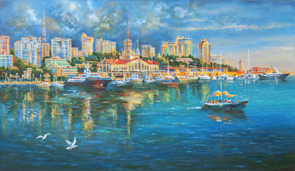 Seaport of Sochi. Author: An oil painting on canvas. Nikolay Sivenkov.