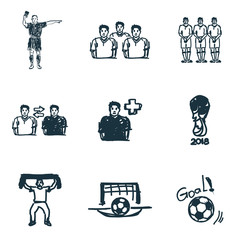 Football icons set. Goal icon, football referee icon, football fan icon and more. Premium quality symbol collection. Succer icon set simple elements.