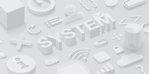 Fototapeta Grey 3d system background with web symbols. obraz