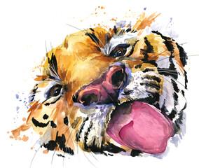 Funny tiger watercolor hand drawn illustration.