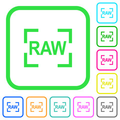 Camera raw image mode vivid colored flat icons