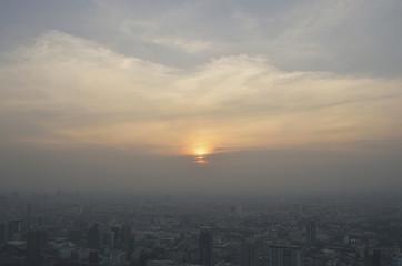 Fototapete - Aerial view of modern city tower at sunset, Bangkok Thailand