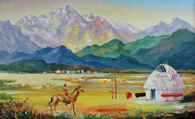 Kazakhstan. Yurt near the village. An oil painting on canvas. Author: Nikolay Sivenkov.