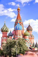 St. Basil's Cathedral on Red Square in the Kremlin in Moscow wit