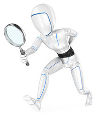 3D Humanoid robot looking for with a magnifying glass