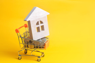 Property investment and house mortgage financial concept. buying, renting and selling apartments. real estate. Coins and a wooden house in a shopping basket. credit