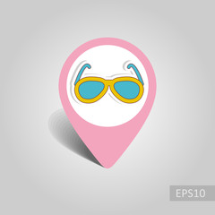 Sunglasses pin map icon. Summer. Vacation