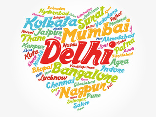 List of cities and towns in India composed in love sign heart shape, word cloud collage, business and travel concept background