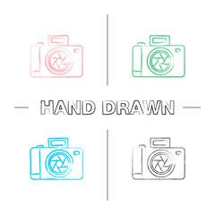 Professional photo camera hand drawn icons set