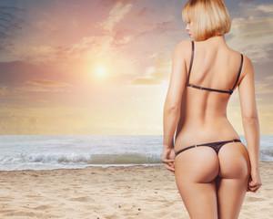 perfect female body on the beach