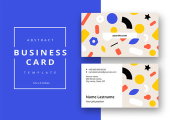 Trendy minimal abstract business card template with bright layout. Modern corporate stationery id layout with geometric pattern. Vector fashion background design with information sample name text.