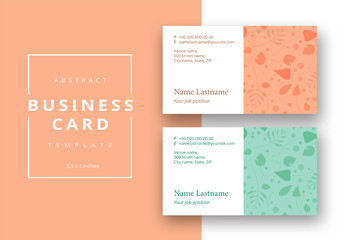 Trendy minimal abstract business card template on foliage layout. Modern corporate stationery id  with forest leaves. Vector fashion green background design with information sample name text.