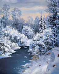 Winter thaw in a mountain forest. Artistic work in delicate colors: oil on canvas. Author: Nikolay Sivenkov.