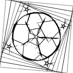 Decorative graphic pattern with a soccer balls and a five-pointed stars in a black  - white