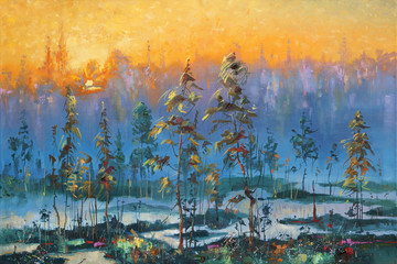 Dawn in the tundra. An oil painting on canvas. Author: Nikolay Sivenkov