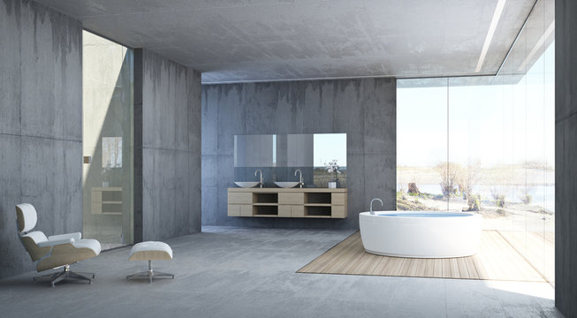 Modernes Bad mit Panoramablick