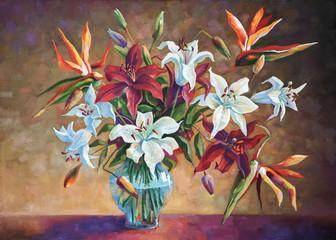 Strelitzia among the lilies. Painting: canvas, oil. Author: Nikolay Sivenkov.