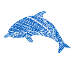 Fantasy ornamental dolphin blue color