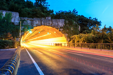 Keuken foto achterwand Tunnel highway road tunnel at night,traffic concept