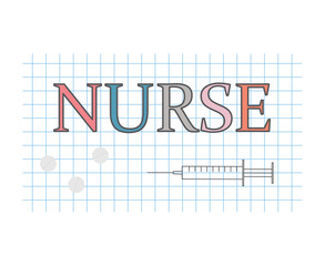 nurse word on checkered paper sheet- vector illustration