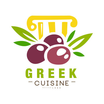 Greek cuisine logo design, authentic traditional continental food label can be used for shop, farmers market, cafe, bar, restaurant, menu vector Illustration on a white background