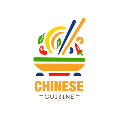 Chinese cuisine logo design, authentic traditional continental food label can be used for shop, farmers market, cafe, bar, restaurant, menu vector Illustration on a white background