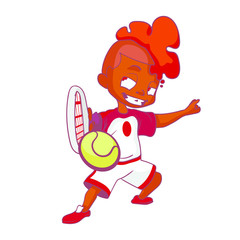 Black boy with orange hair and a white red sports uniform plays tennis