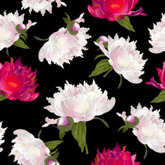 Vector botanical seamless pattern with peonies flowers on black. Modern floral pattern for textile, wallpaper, print, gift wrap, greeting or wedding background. Spring or summer design.