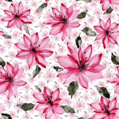 Beautiful pink flowers with leaves on white background. Seamless floral pattern.  Watercolor painting. Hand painted botanical illustration.